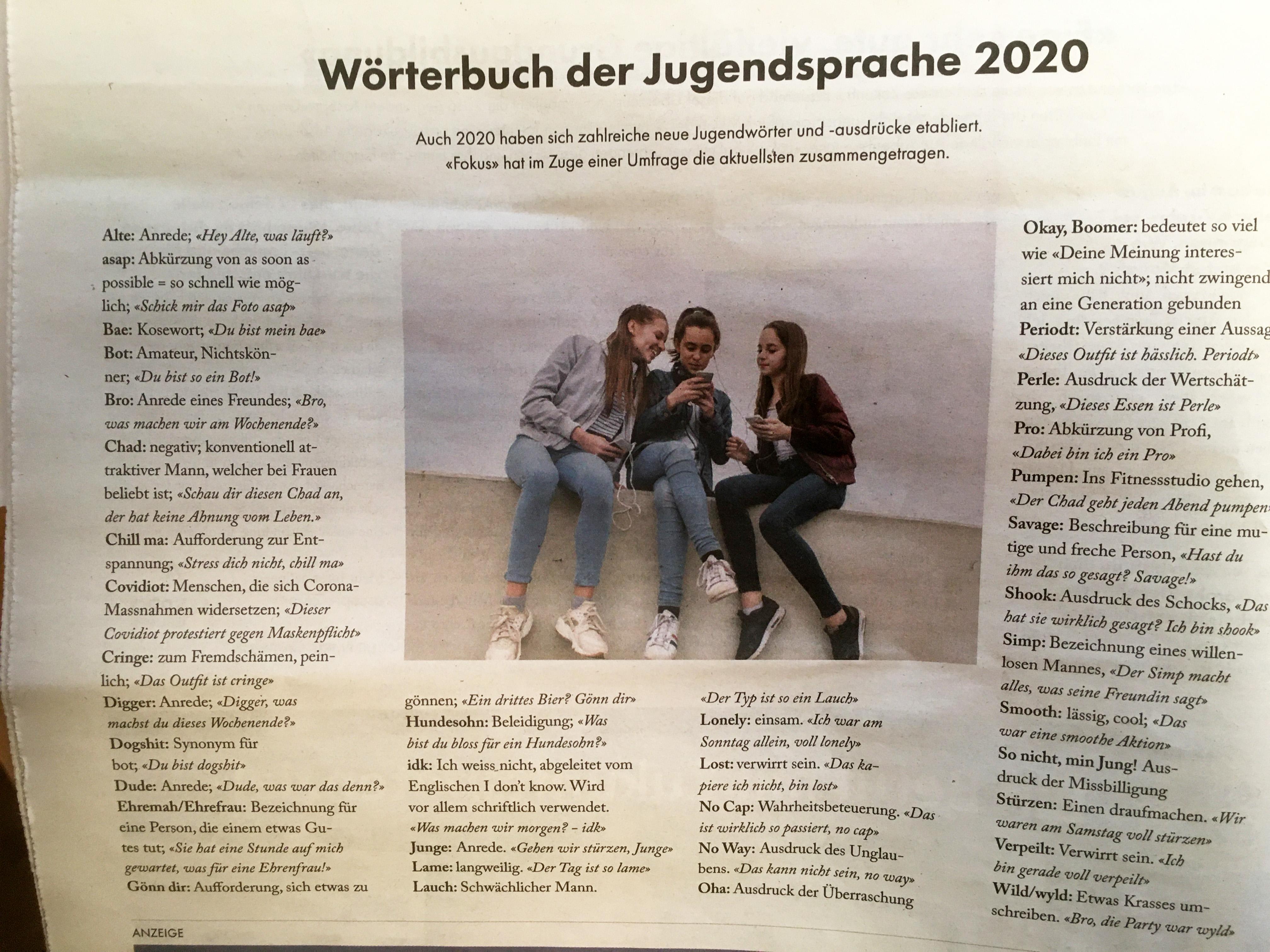 Jugendsprache - Focus-Artikel